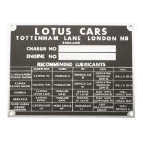 Chassis plate - Lotus Cars Tottenham Lane